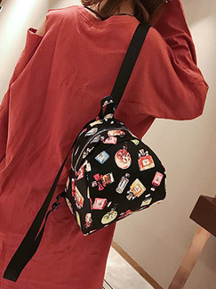 Black Colorful Leather Located Printing Shoulders Backpack Bag