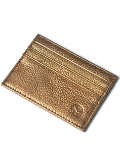 Golden Leather Litchi Pattern Credit Card Slim Purse Wallet