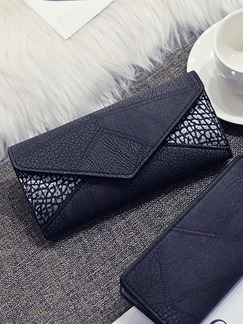 Blue and White Leather Linking Portable Trending Long Wallet