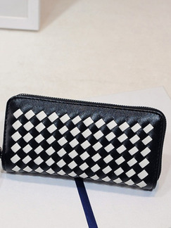 Black and White Leather Weaving Contrast Portable Zipper Wallet