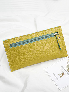 Yellow Leather Zip-Around Portable Long Slim Wallet