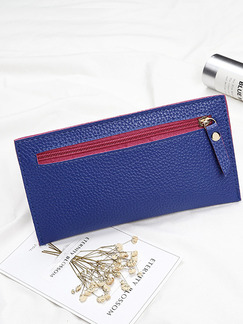 Blue Leather Zip-Around Portable Long Slim Wallet