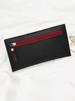 Black Leather Zip-Around Portable  Long Slim Wallet