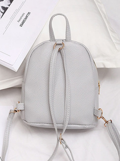 Grey Leather Iron Edge Shoulders Backpack Bag