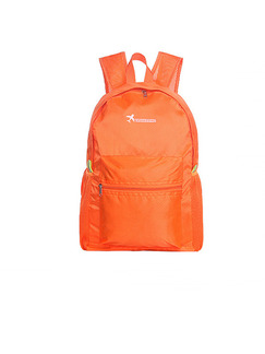 Orange Nylon Foldable Shoulders Backpack Bag