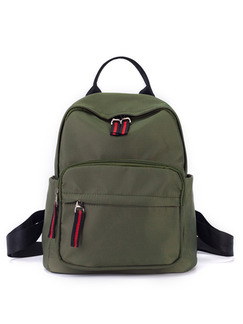 Green Nylon Stripe Zipper Shoulders Backpack Bag