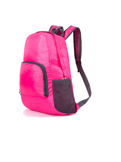 Pink Nylon Outdoor Foldable Shoulders Backpack Bag