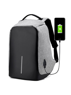 Grey and Black Nylon USB Multifunction Commercial Big Capacity Backpack Men Bag