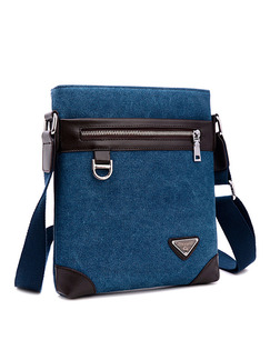 Blue and Brown Canvas Commercial Casual Crossbody Men Bag