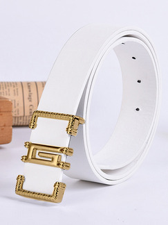 White Smooth Buckle Leather Men Belt