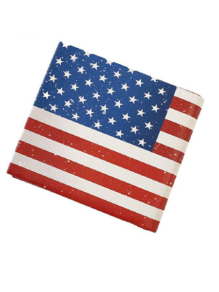 US-Flag Leather Fold One Level Short Wallet
