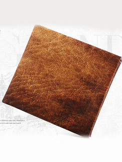 Brown Leather Invisible Card Position Short Wallet