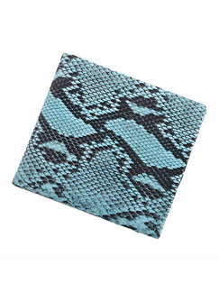 Snakeskin Blue Leather Invisible Card Position Short Wallet