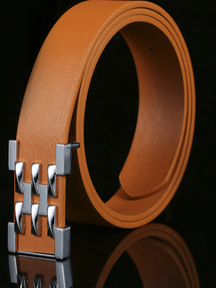 Brown Smooth Buckle Leather Men Belt