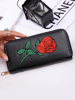 Black Leather Embroidery Zipper Phone Holder Credit Card Photo Holder Long Wallet