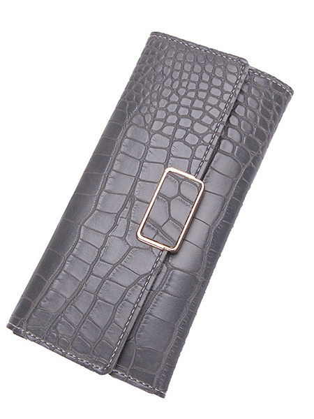 Gray Leather Buckle  Long Wallet
