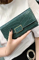 Ink Green Leather Buckle  Long Wallet