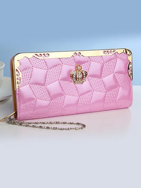 Pink Leather Lingge Zipper Credit Card Long Wallet