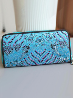 Blue Leather Embroidery Zipper Credit Card Long  Wallet