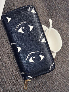 Black Leather Eyes Zipper Credit Card Long  Wallet