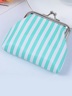 White and Light Green PVC Metal Button Short Coin Purse Wallet