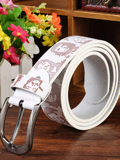White Printed Single Pin Buckle Leather Men Belt