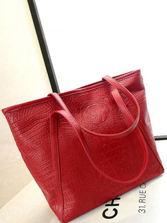 Red Leather Crocodile Pattern Portable Tote Women Bag