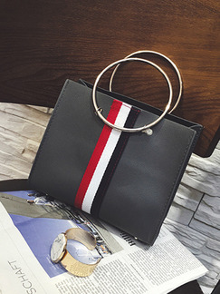 Grey Leather Iron Ring Portable Stripe Mother Package Hand Women Bag