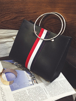 Black Leather Iron Ring Portable Stripe Mother Package Hand Women Bag
