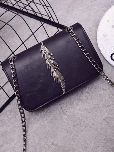 Black Leather Chain Shoulder Willow Leaf Baguette Women Bag