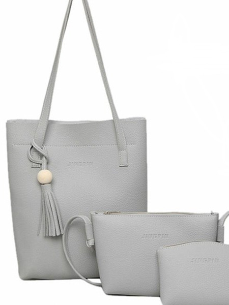 Grey Leather Mother Package Tassel Tote Women Bag