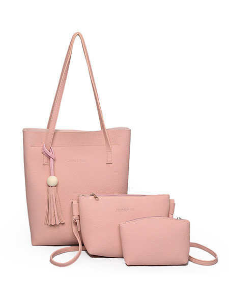 Pink Leather Mother Package Tassel Tote Women Bag