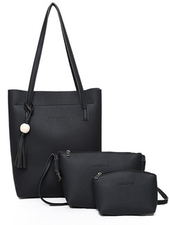 Black Leather Mother Package Tassel Tote Women Bag