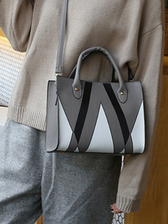 Grey Black and White Leather Triangle Printed Portable Shoulder Hand Women Bag