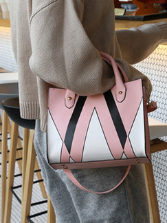 Black Pink and White Leather Triangle Printed Portable Shoulder Hand Women Bag