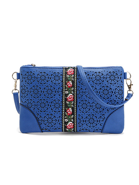 Blue Leather Embroidered Hand Holding Shoulder  Women Bag