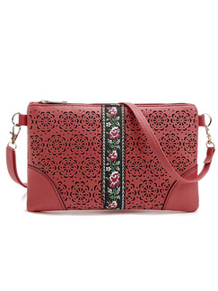 Red Leather Embroidered Hand Holding Shoulder  Women Bag