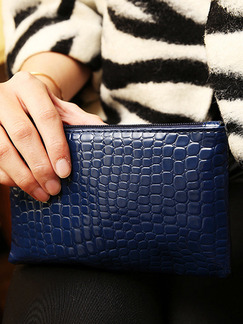 Blue Leather Crocodile Pattern Hand Holding Wristlet Wallet