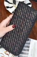Black Leather Braided Pattern Zip-Around Wristlet Wallet