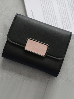 Black Leather Three Fold Contrast Linking Wallet