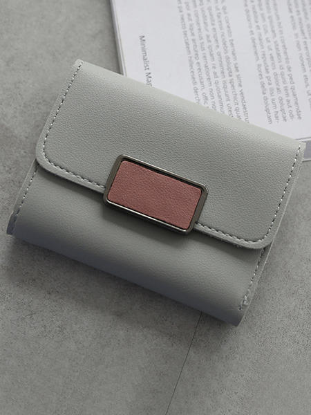 Grey Leather Three Fold Contrast Linking Wallet