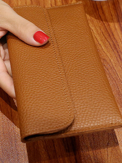 Brown Leather Buckle Litchi Pattern  Wallet
