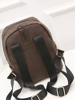 Brown Canvas Wavelet Points Shoulders Backpack Women Bag