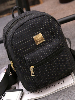 Black Canvas Wavelet Points Shoulders Backpack Women Bag