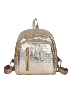 Golden Leather Crocodile Pattern Vertical Zipper Shoulders Metallic Backpack Women Bag
