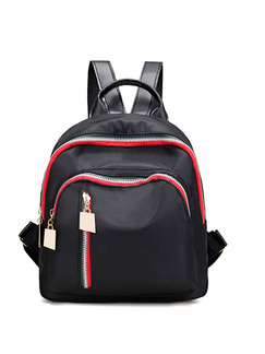 Black Nylon Contrast Zipper Shoulders Backpack Women Bag
