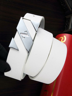 White Letter Z Smooth Buckle Leather Men Belt
