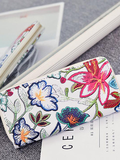 White Colorful Leather Embroidery Zipper Long Coin Purse Phone Holder Wallet