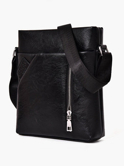 Black Leather Casual Commercial Crossbody Men Bag
