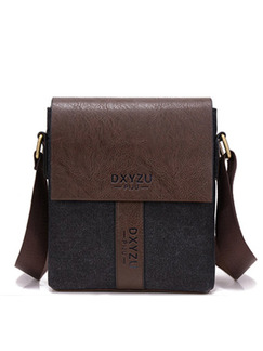 Grey and Brown Leather Commercial Causal Crossbody Men Bag